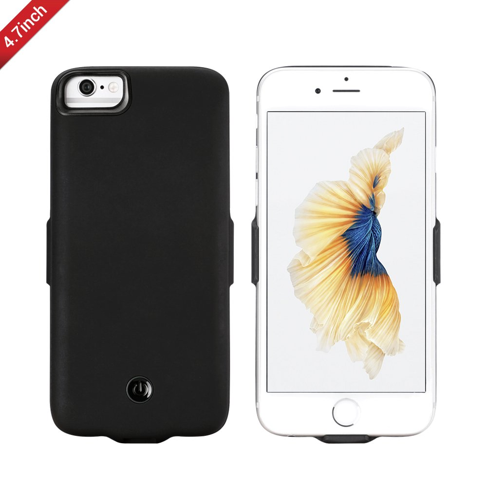 Portable Battery Charger Case For iPhone 8/7/6/6S, External Battery Charger Pack Charging Case Power bank Case Cover for iphone 4.7 inch (Black)