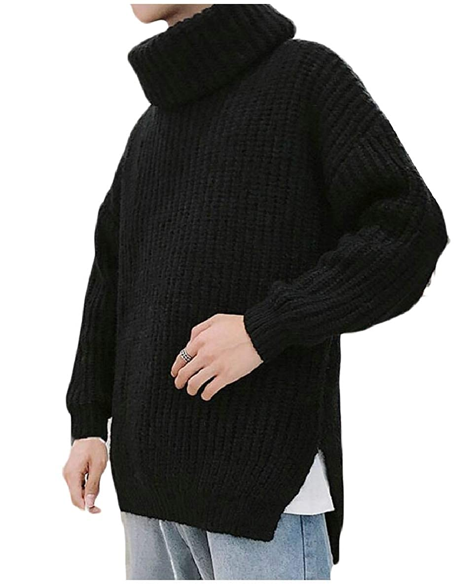 FLCH+YIGE Mens Long Sleeve Loose Knitted Jumper Turtleneck Pullover Sweaters Tops