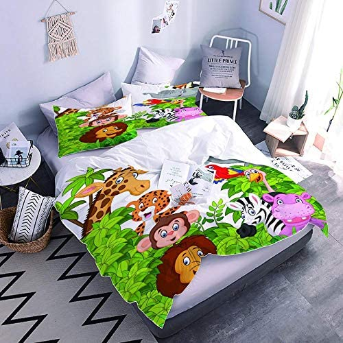 PPKMBGRS Parure De Lit pour Enfant 3D Coloré Imprimé Housse De Couette Simple Garçon Fille,Animaux De La Brousse Chambre Lit Décoration-220x220Cm