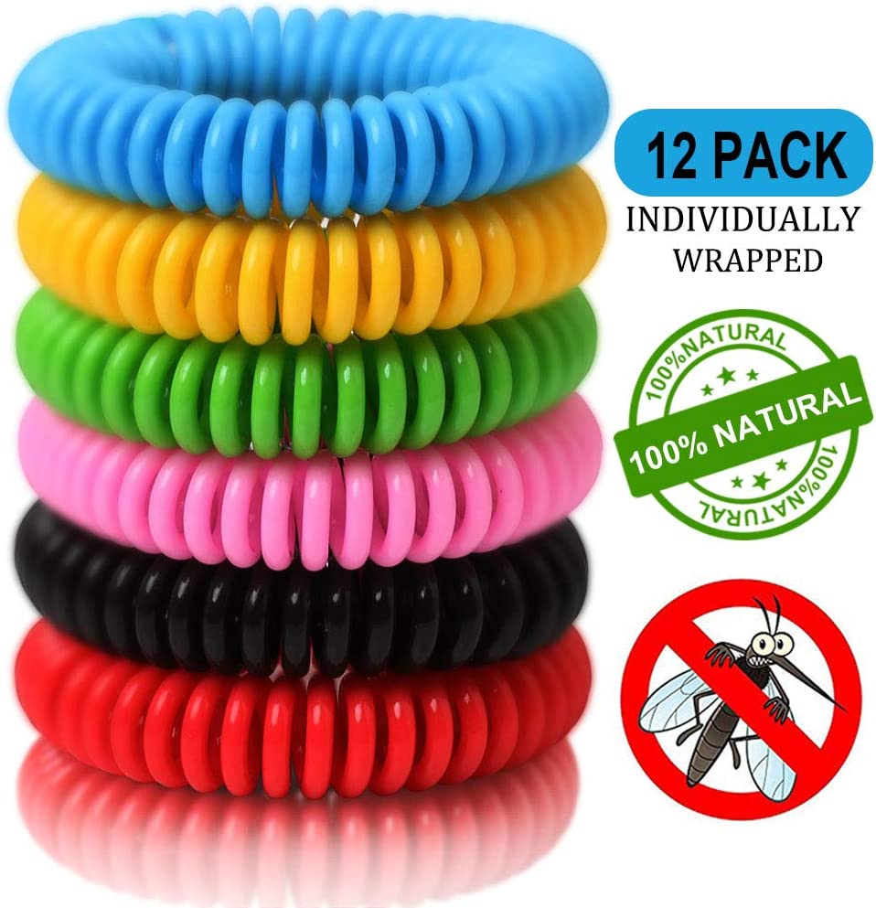 12 Pack Mosquito Repellent Bracelets, Natural and Waterproof Wrist Bands for Adults, Kids, Pets - [Individually Wrapped], Travel Protection Outdoor - Indoor 61-5YBeznfL
