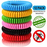 Mosquito Repellent Bracelets (12 Pack Individually Wrapped) Natural and Waterproof Wrist Bands for Adults, Kids, Pets, DEET Free, Safe for Travel Protection.
