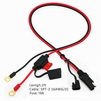 Amazon Com Sparking Sae To Sae Extension Cable 7 5a Fuse Alligator