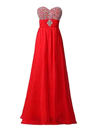 Exlinalesha Womens Beaded Prom Dress Pleated Wedding Gown ELF068RD-US2