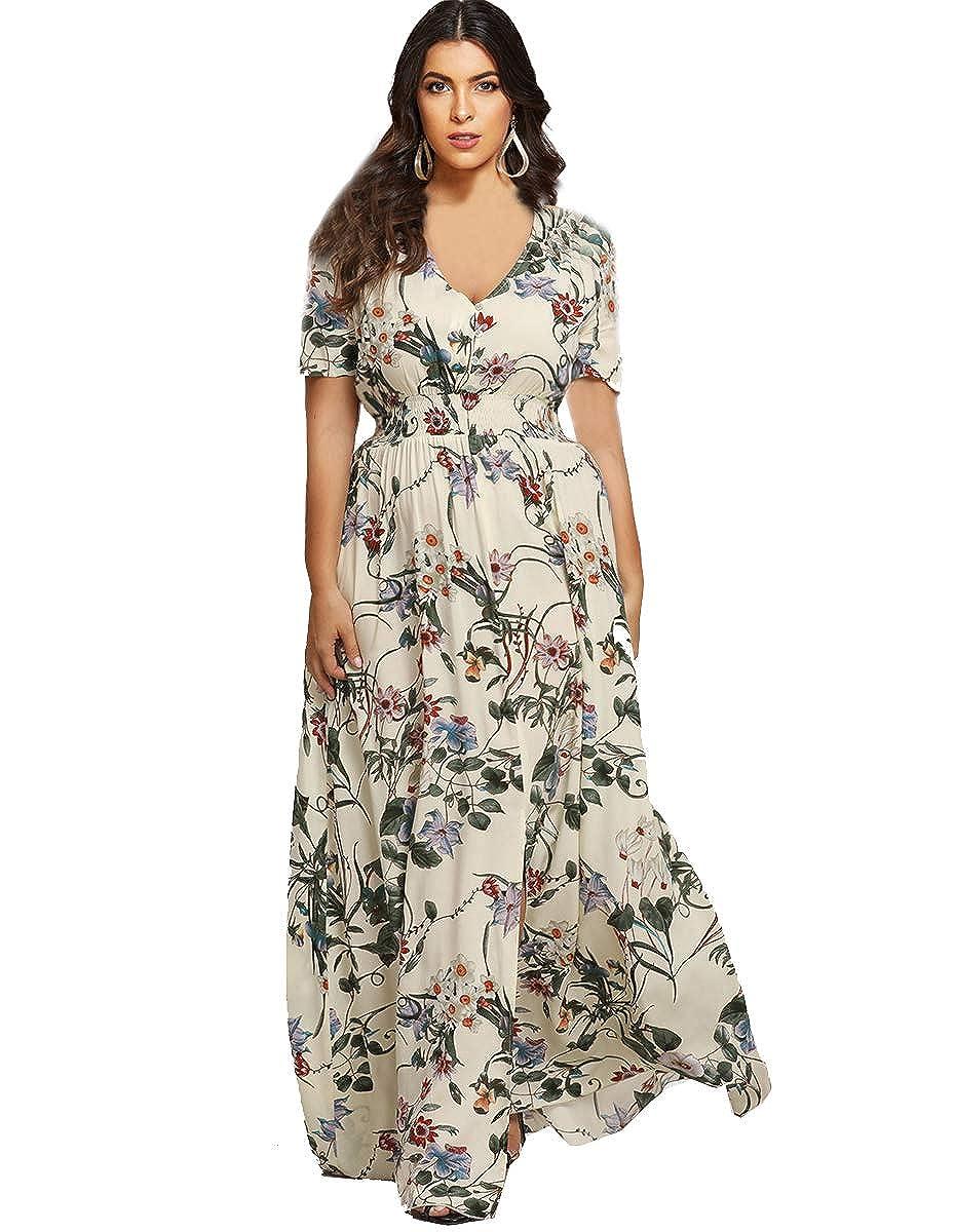 9fcb438457 Romwe Women s Bohemian Floral Print Buttons Short Sleeve Split Long Maxi  Dress Multicolor L at Amazon Women s Clothing store