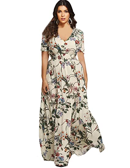 45aaec8cd0d62 Romwe Women s Bohemian Floral Print Buttons Short Sleeve Split Long Maxi  Dress Multicolor L