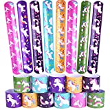 KUUQA 30 PCS Unicorn Slap Bands Bracelets for Kids, Unicorn Theme Birthday Party Favors Goodie Bag Fillers Game Prizes Class Rewards for Students Girls, 6 Designs