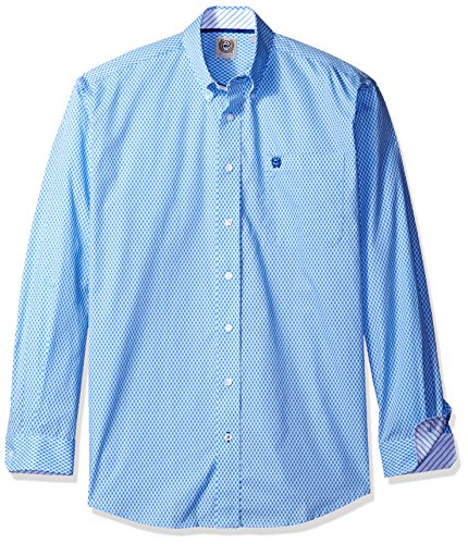 Cinch Horse Tack (Cinch Men's Classic Fit Long Sleeve Button One Open Pocket Print Shirt, Light Blue, Medium)