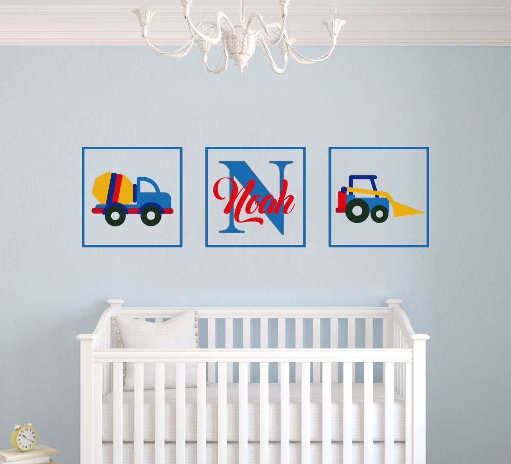 Custom Name Tractors & Initial Baby Boy Wall Decal Nursery For Home Bedroom Children (MM52) (Wide 22'' x 12'' Height)