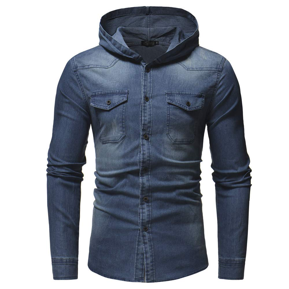 PASATO Men's Autumn Winter New Hot! Hooded Button Vintage Distressed Demin Hoodie Tops Blouse Pure Color clothes(Blue, XL)