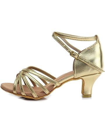 HROYL Zapatos de Baile/Zapatos Latinos de satén Mujeres ES7-F13