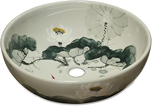 ChinaFurnitureOnline Porcelain Basin, Hand Painted Lotus Flower Motif with Koi Pond Vanity Bowl Green and White Glaze