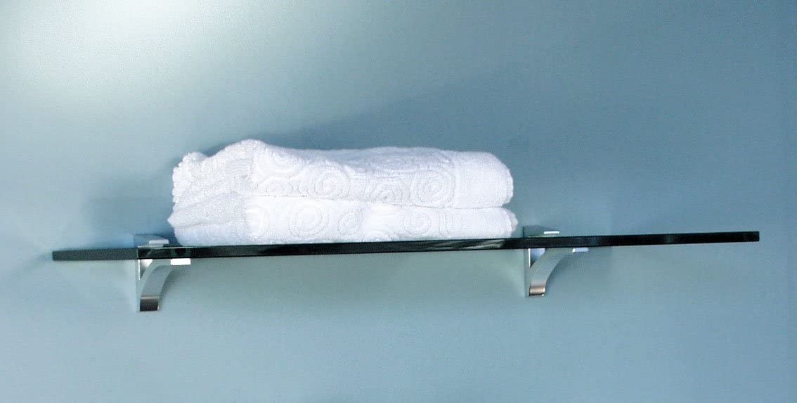 Glass Wall Shelf – 10×36 – Frosted Chrome Hardware Clear 36 W x 10 D