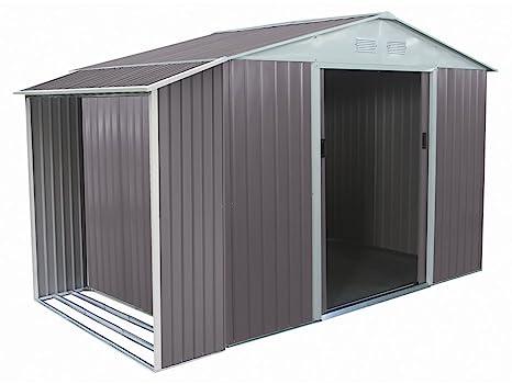 Caseta de metal Dallas 5,29 m² con leñero