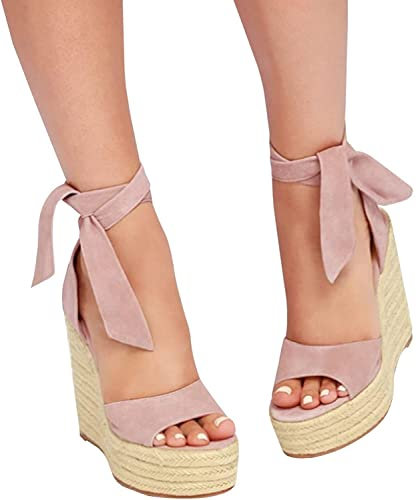 cfbf31cea5 Image Unavailable. Image not available for. Color: Seraih Womens Lace up Platform  Wedges Sandals Classic Ankle Strap Shoes Pink