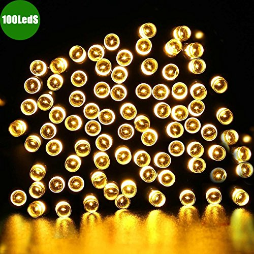Dephen Solar Christmas String Lights, 100 LED 39ft 8 Mode Waterproof Outdoor Decorative Fairy Lights, Solar Garden Lights for Outside,Garden,Home,Christmas Tree,Party Decoration(Warm White) (Home Lights Outside)
