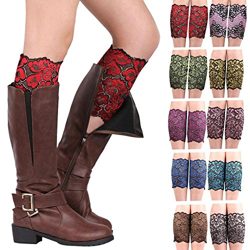 MarJunSep Womens Girls 10 Pairs Stretch Lace Boot Leg Cuffs Soft Laced Boot Socks (A) Embellished Girls Socks