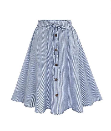 49c92de13 Lenfesh Mujeres Casual Midi Falda Plisada con Cintura Elástica Falda Larga  de Azul Rayas con Botones