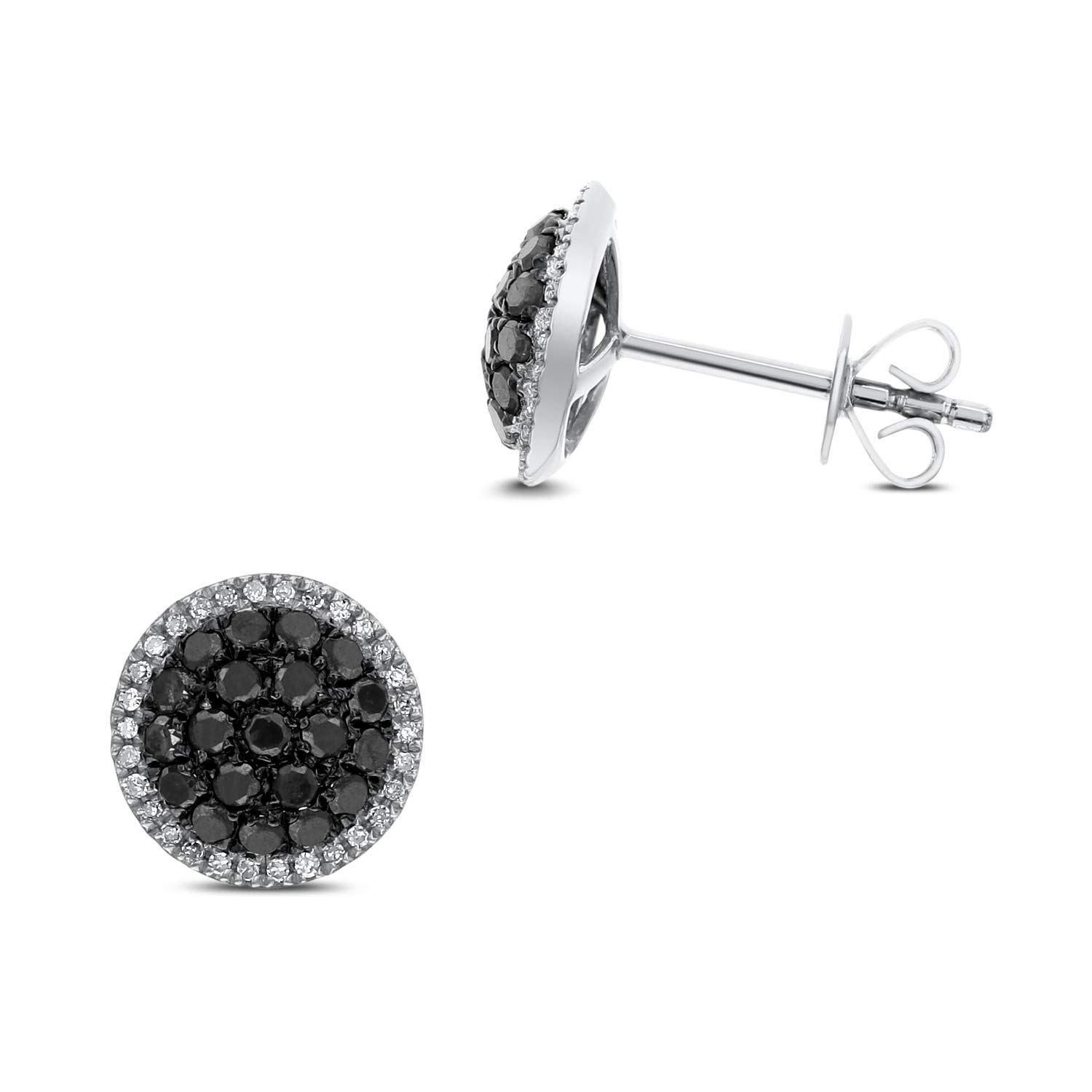 Diamond Couture 10K White Gold Diamond Stud Earrings (0.50cttw Black Diamond and 0.10cttw White Diamond I-J Color, I1-I2 Clarity), Gift for Her