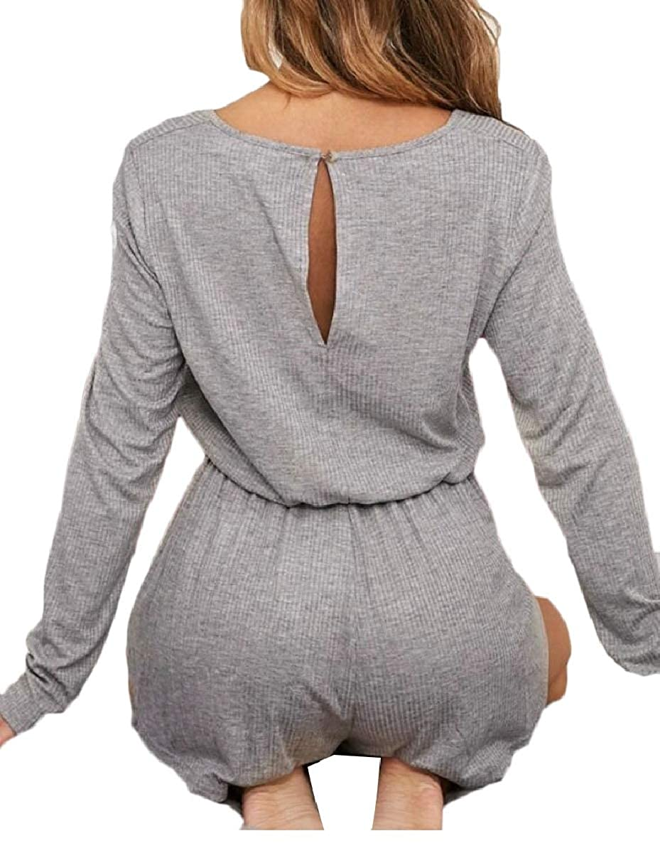 FLCH+YIGE Womens Short Drawstring Ribbed Long Sleeve Solid Color Casual Jumpsuits Rompers