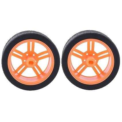 Baoblaze 2x Neumáticos plásticos de Coche de Ruedas para Coches de RC de Motor TT -