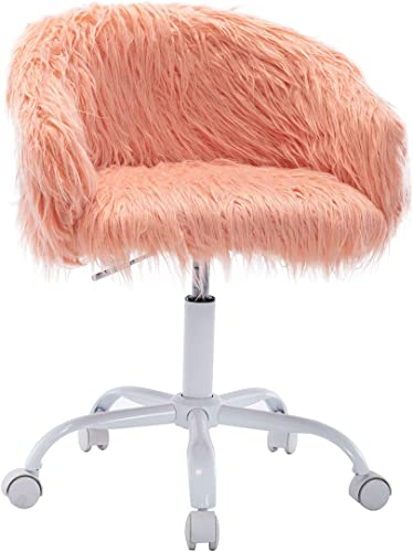 ZH4YOU Faux Fur Swivel Makeup Stool Accent Chair