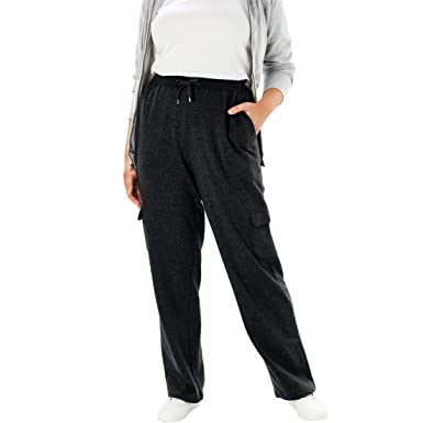 6d20ce34c78 Woman Within Plus Size Tall Better Fleece Cargo Sweatpant - Heather  Charcoal