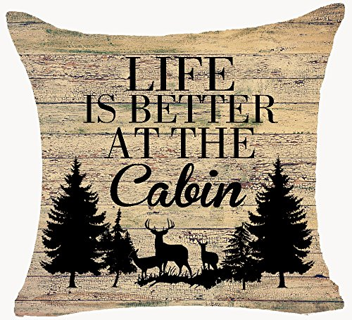 Retro Vintage Wood Grain Background Wildlife Deer Pine Forest Life Is Better At The Cabin Cotton Linen Throw Pillowcase Personalized Cushion Cover NEW Home Office Decorative Square 18 X 18 Inches (Cabin Personalized)
