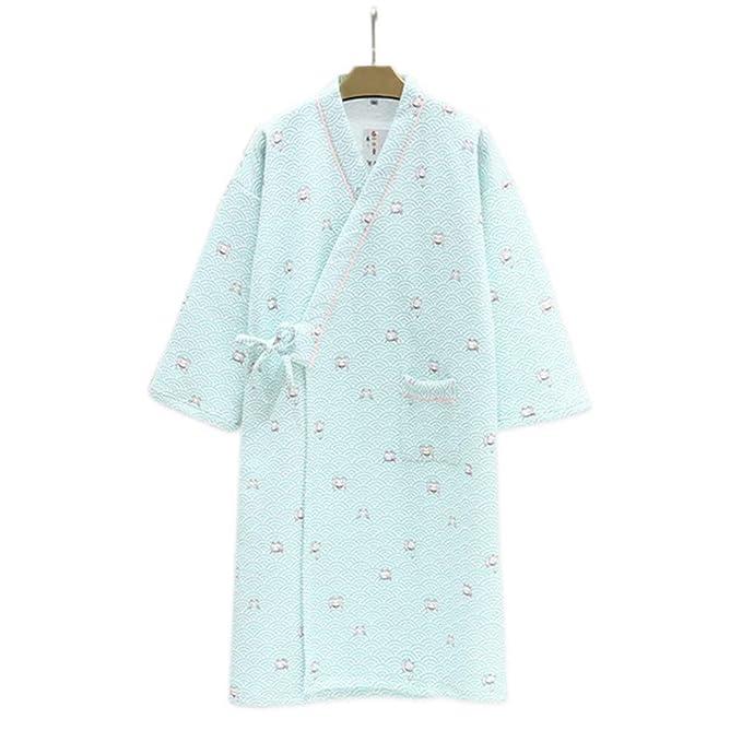 YTFOPLK Cute Wave Cats Kimono Japonés Batas De Mujer Invierno Espeso Batas De Algodón Pijamas De Manga Larga Cálidos Albornoces Frescos para Mujeres, ...