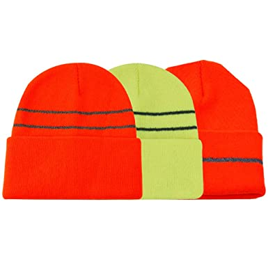 f84cc201 JIBIL Beanie Hats for Men Enhanced Visibility Cold Weather Hunting Running  Beanie Cap One Size,