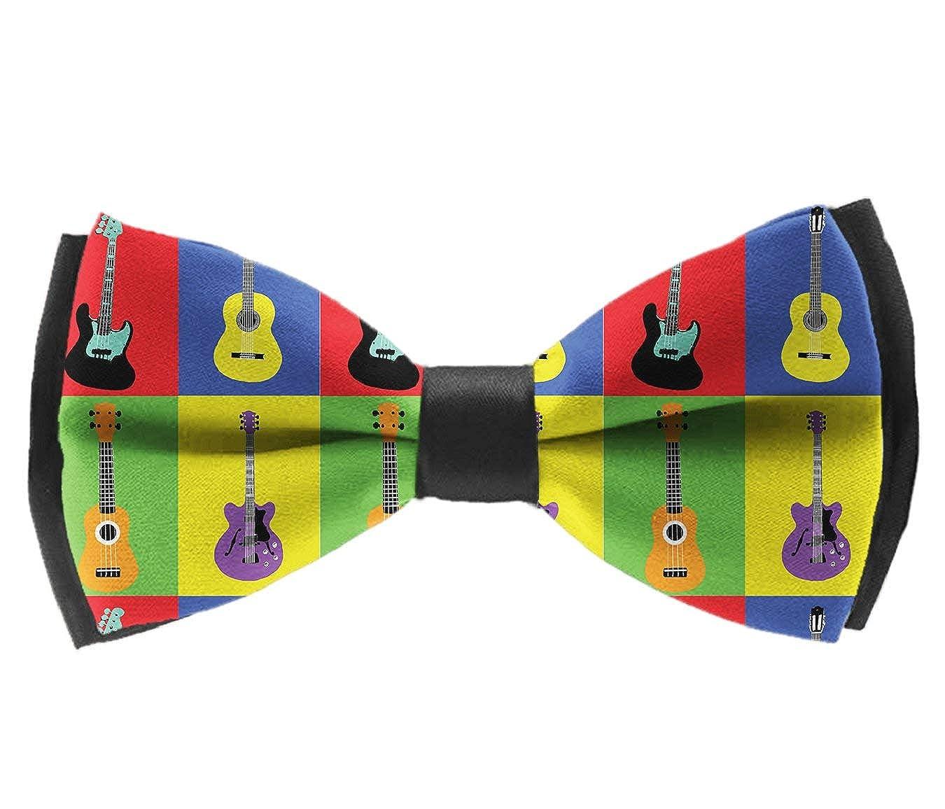 Pre Tied Bowties Musical Guitars Pop Art Tuxedo Solid Formal Bow Tie