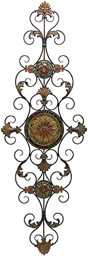 Benjara , Brown and Black Vintage Style Metal Scrollwork Wall D cor