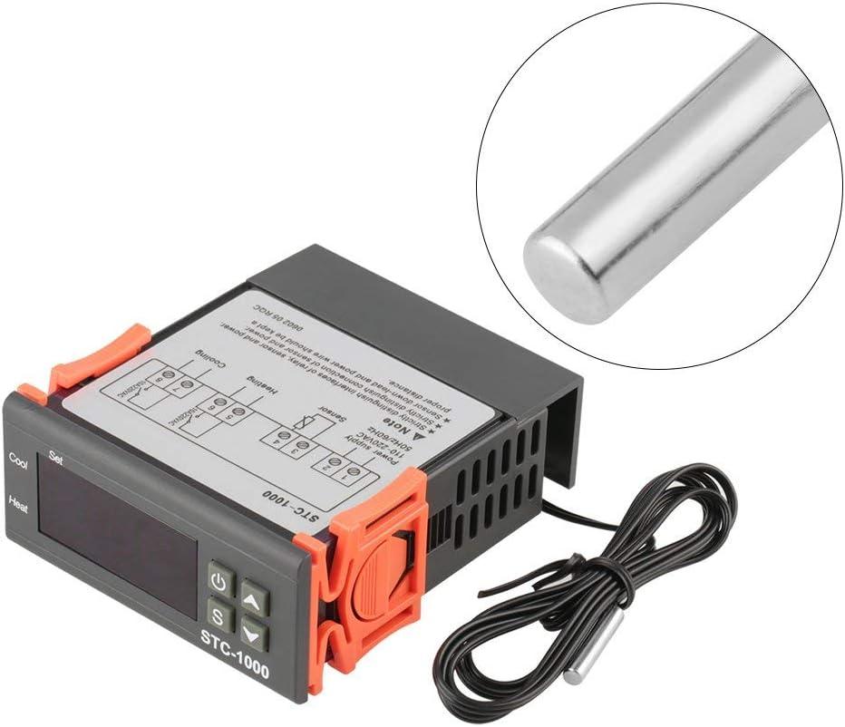 Controlador de Temperatura Digital ARCELI AC 110V-220V Fahrenheit/Centígrados Termostato/Modo de refrigeración con Sensor 2 relés