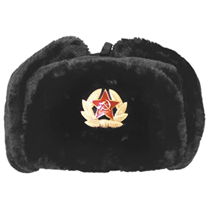 f937ea17ae51f Russian Army Style Winter Cap Warm Trapper Hat Ear Flaps with Badge Black   Amazon.co.uk  Kitchen   Home