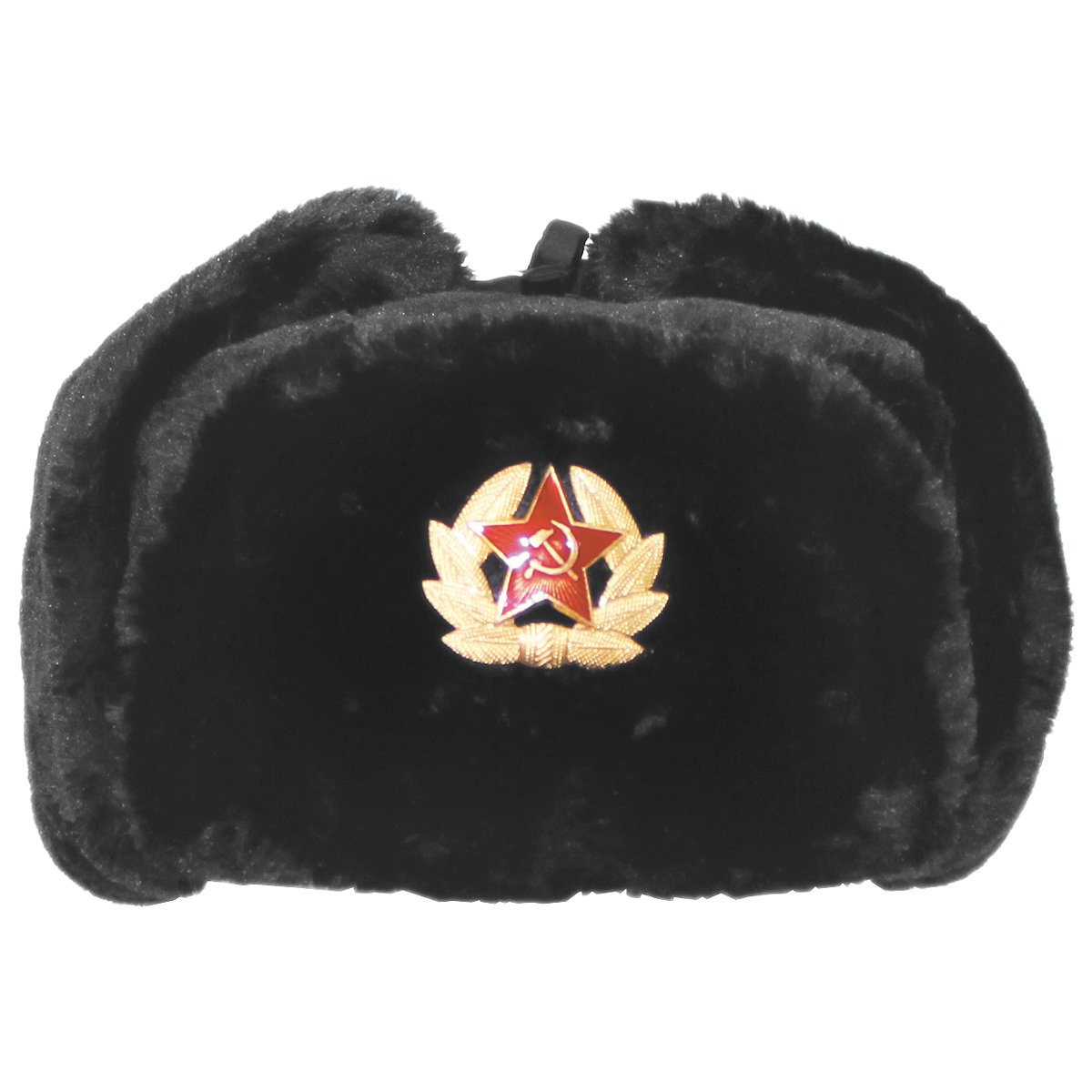 Russian Army Style Winter Cap Warm Trapper Hat Ear Flaps with Badge Black Mil-Tec