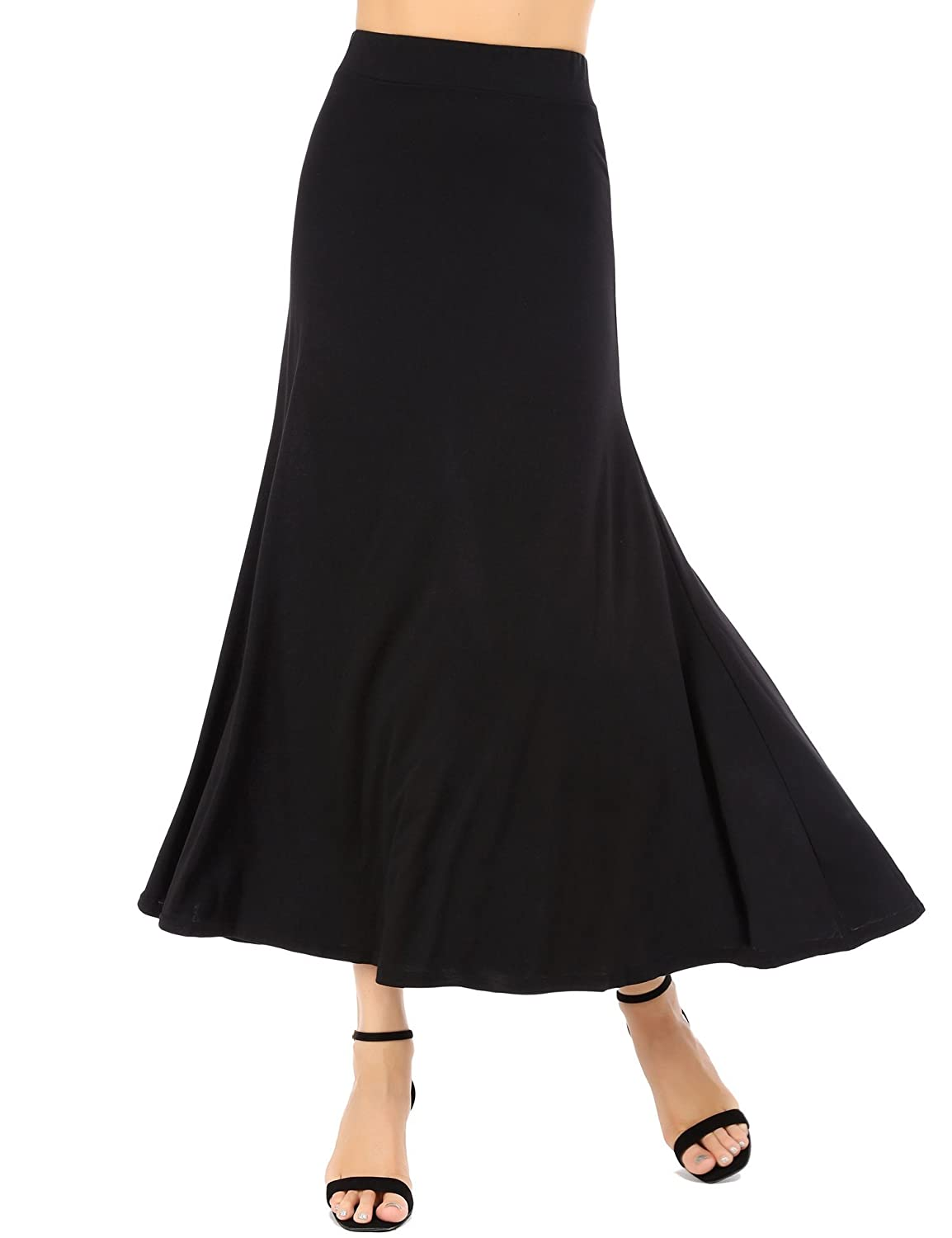 0647848f8b Feature: elastic waist, stretchable, flowy fit, smooth texture,  lightweight, ankle length, silky, comfortable. Style: floor length skirt,  ...