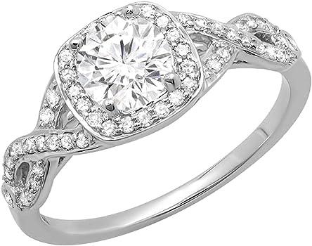 anillo oro blanco y diamante cojín (cushion)