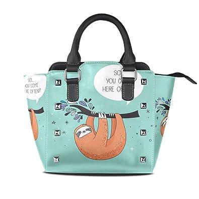 Amazon.com: Para mujer lindo perezoso bolsos de piel bolsos ...