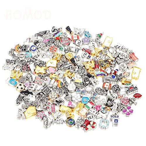 Wholesale 105pcs Mix Floating Charms Lot for DIY Glass Living Memory Locket Silver Gold - Story Charm