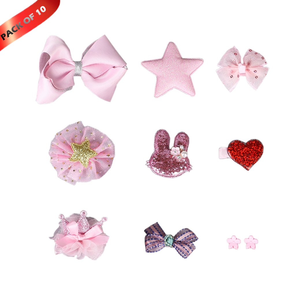 10 PCS Pet Dog Hair Clips Hair Bows Puppy Bling Hair Accessories with Gift Box (Pink)