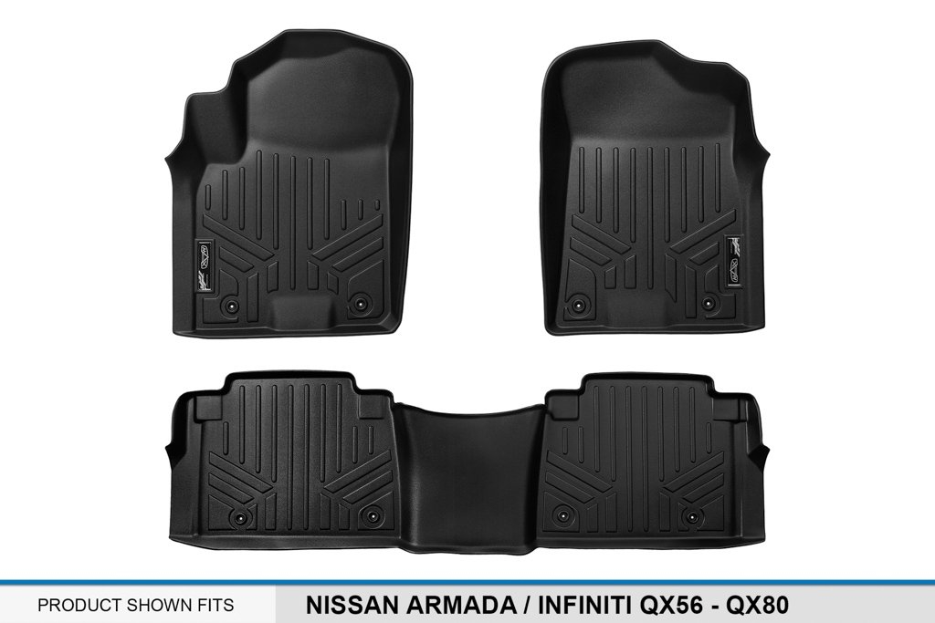 - QX80 2 Row Set 2017 2014-2017 Black MAXFLOORMAT Floor Mats for Nissan Armada 2011-2013 // Infiniti QX56