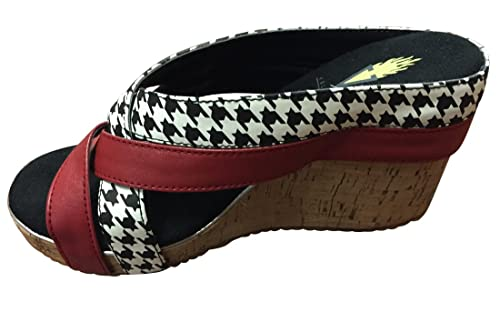 c1d66364667fa Volatile Vulcan Double Strap Houndstooth and Red Sandal Wedge