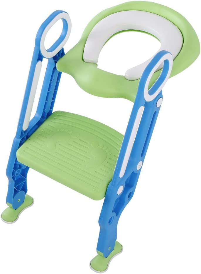 Potty Training Seat Soft Toilet Chair Ladder Adjustable Safety Potty Training Seat with Anti-Slip Pads Ladder for Baby Boys Girls Potty Chair