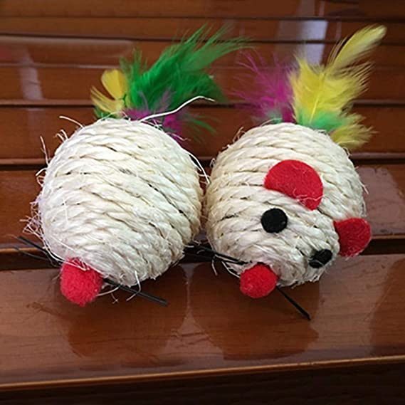 Amazon.com : Best Quality New Funny sisal Mouse Ball Feather Tail pet cat Play Chewing Scratch Interactive Toy : Pet Supplies