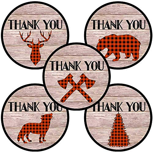 Lumberjack Party Thank You Sticker Labels - Plaid Wedding Birthday Baby Shower Favors - Set of 50 ()