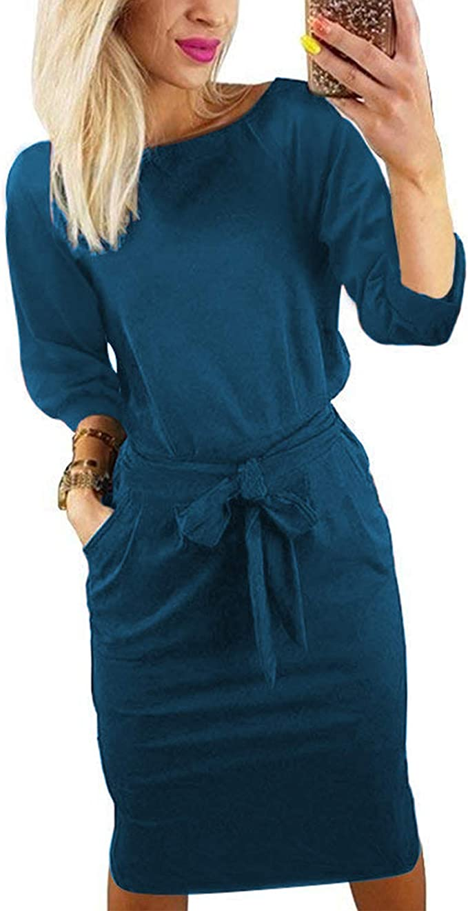 ChainJoy Womens Fashion Midi Dress Long Sleeve Solid Casual Belt Pencil Dresses with Pockets