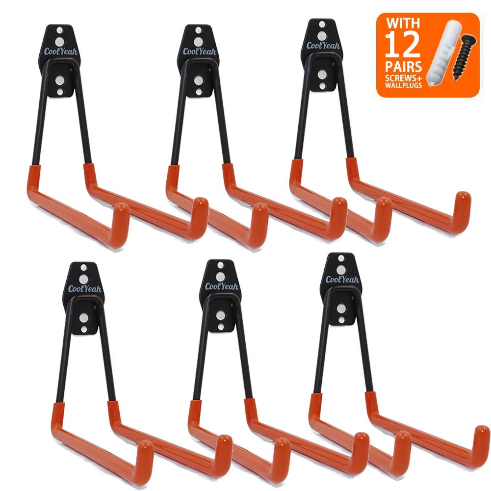 CoolYeah Steel Garage Storage Utility Double Hooks, Heavy Duty for Organizing Ladder Hooks, Long U Hooks (Pack of 6, 6.3 × 7.3 × 6.1 inches) by CoolYeah