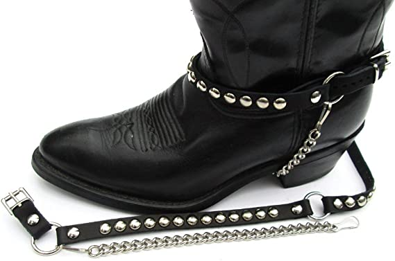 Biker Boots Boot Chains Black Leather