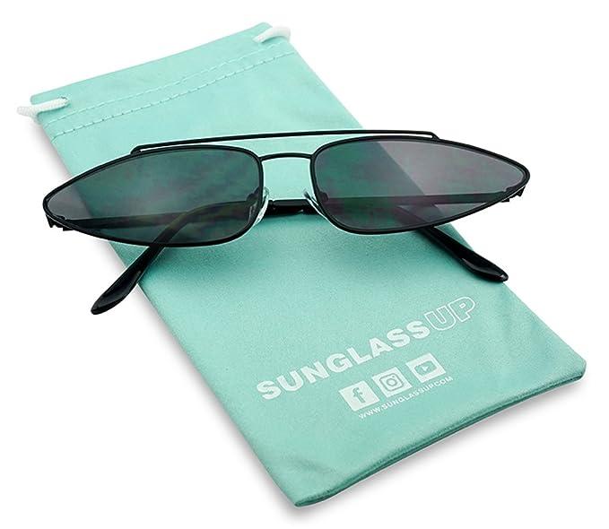 b297c8e6454 Amazon.com  SunglassUP Ultra Slim Retro 90 s Skinny Wide Oval Sun Glasses  Narrow Metal Crossbrow Cateye Shades (Black Frame