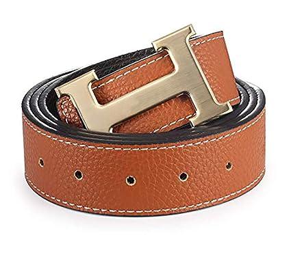 147c5cc24 Fashion Leather Metal Buckle Unisex Women Men Belt Casual Business at Amazon  Women's Clothing store: