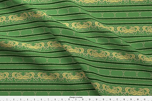 Celtic Trim Knot (Spoonflower Greyhound Fabric Celtic Knot Gryehounds -Horizontal Version- Green And Yellow by Artbyjanewalker Printed on Basic Cotton Ultra Fabric by the Yard)